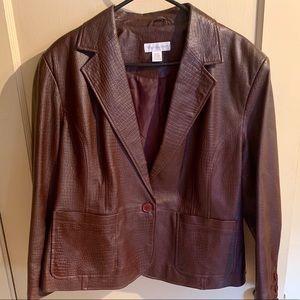 Worthington brown snakeskin pattern leather jacket